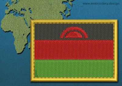This Flag of Malawi Rectangle with a Gold border design was digitized and embroidered by www.embroidery.design.