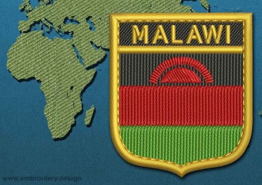 This Flag of Malawi Shield with a Gold border design was digitized and embroidered by www.embroidery.design.