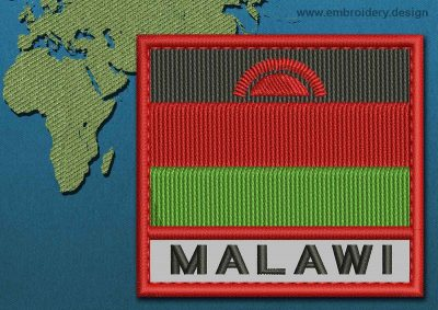 This Flag of Malawi Text with a Colour Coded border design was digitized and embroidered by www.embroidery.design.