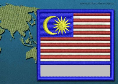 This Flag of Malaysia Customizable Text  with a Colour Coded border design was digitized and embroidered by www.embroidery.design.