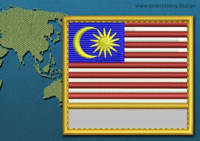 This Flag of Malaysia Customizable Text  with a Gold border design was digitized and embroidered by www.embroidery.design.