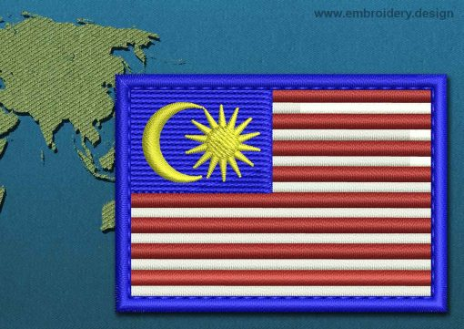 This Flag of Malaysia Rectangle with a Colour Coded border design was digitized and embroidered by www.embroidery.design.