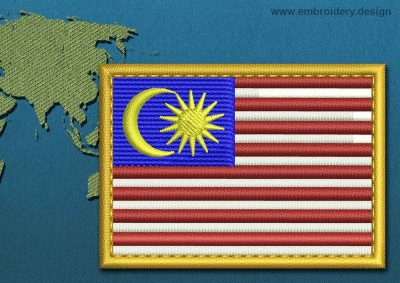 This Flag of Malaysia Rectangle with a Gold border design was digitized and embroidered by www.embroidery.design.