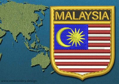 This Flag of Malaysia Shield with a Gold border design was digitized and embroidered by www.embroidery.design.