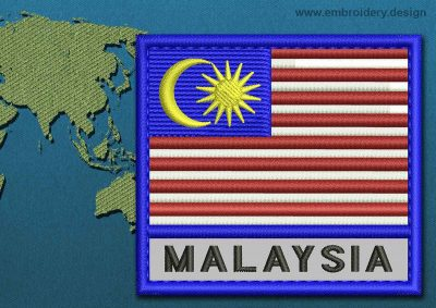 This Flag of Malaysia Text with a Colour Coded border design was digitized and embroidered by www.embroidery.design.