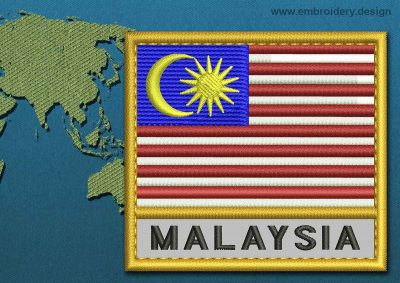 This Flag of Malaysia Text with a Gold border design was digitized and embroidered by www.embroidery.design.
