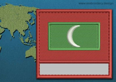 This Flag of Maldives Customizable Text  with a Colour Coded border design was digitized and embroidered by www.embroidery.design.