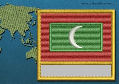 This Flag of Maldives Customizable Text  with a Gold border design was digitized and embroidered by www.embroidery.design.