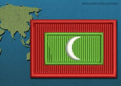 This Flag of Maldives Mini with a Colour Coded border design was digitized and embroidered by www.embroidery.design.