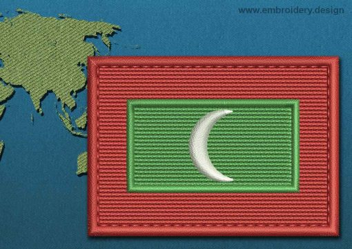 This Flag of Maldives Rectangle with a Colour Coded border design was digitized and embroidered by www.embroidery.design.