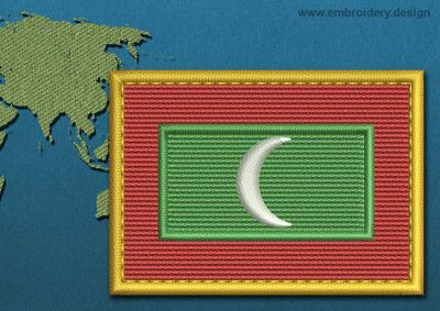 This Flag of Maldives Rectangle with a Gold border design was digitized and embroidered by www.embroidery.design.