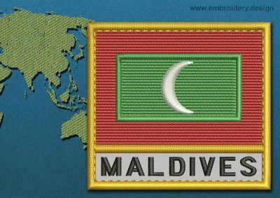 This Flag of Maldives Text with a Gold border design was digitized and embroidered by www.embroidery.design.