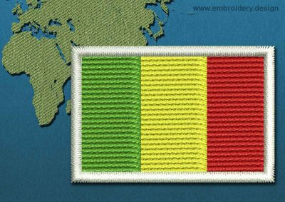 This Flag of Mali Mini with a Colour Coded border design was digitized and embroidered by www.embroidery.design.
