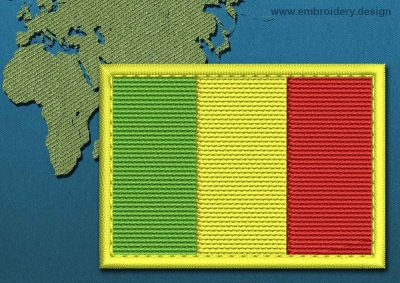 This Flag of Mali Rectangle with a Colour Coded border design was digitized and embroidered by www.embroidery.design.