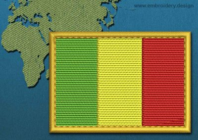 This Flag of Mali Rectangle with a Gold border design was digitized and embroidered by www.embroidery.design.