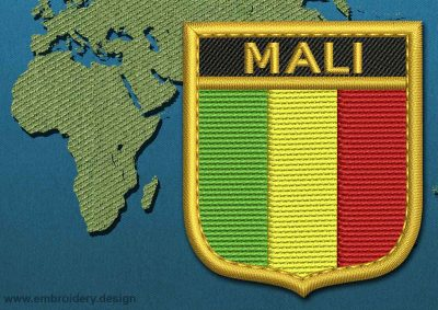 This Flag of Mali Shield with a Gold border design was digitized and embroidered by www.embroidery.design.