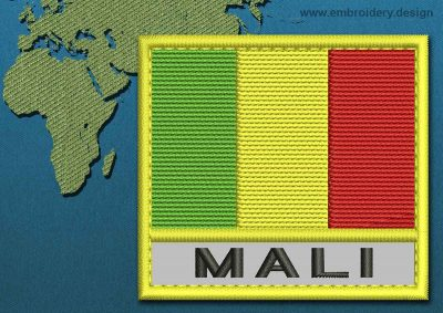 This Flag of Mali Text with a Colour Coded border design was digitized and embroidered by www.embroidery.design.