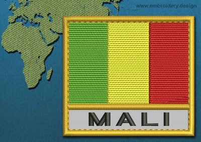 This Flag of Mali Text with a Gold border design was digitized and embroidered by www.embroidery.design.