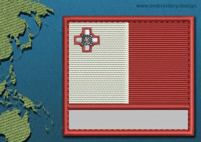 This Flag of Malta Customizable Text  with a Colour Coded border design was digitized and embroidered by www.embroidery.design.