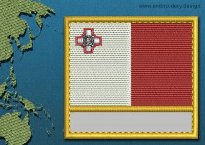 This Flag of Malta Customizable Text  with a Gold border design was digitized and embroidered by www.embroidery.design.