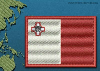This Flag of Malta Rectangle with a Colour Coded border design was digitized and embroidered by www.embroidery.design.