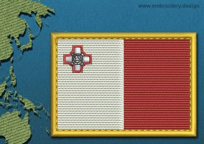 This Flag of Malta Rectangle with a Gold border design was digitized and embroidered by www.embroidery.design.