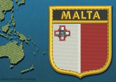 This Flag of Malta Shield with a Gold border design was digitized and embroidered by www.embroidery.design.