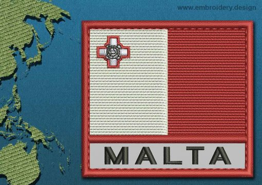 This Flag of Malta Text with a Colour Coded border design was digitized and embroidered by www.embroidery.design.