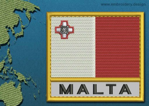 This Flag of Malta Text with a Gold border design was digitized and embroidered by www.embroidery.design.