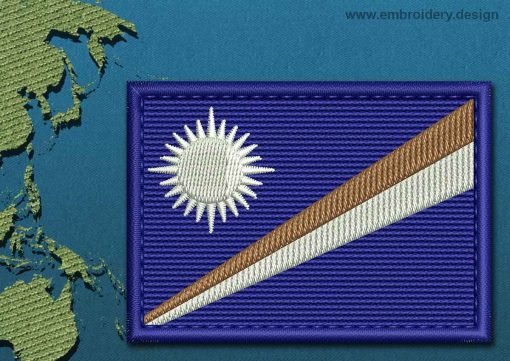 This Flag of Marshall Islands Rectangle with a Colour Coded border design was digitized and embroidered by www.embroidery.design.