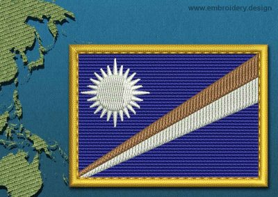 This Flag of Marshall Islands Rectangle with a Gold border design was digitized and embroidered by www.embroidery.design.