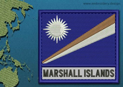 This Flag of Marshall Islands Text with a Colour Coded border design was digitized and embroidered by www.embroidery.design.