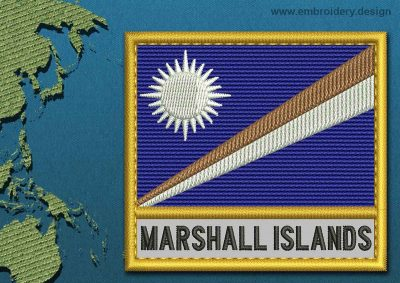 This Flag of Marshall Islands Text with a Gold border design was digitized and embroidered by www.embroidery.design.