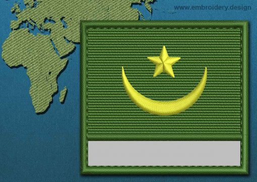 This Flag of Mauritania Customizable Text  with a Colour Coded border design was digitized and embroidered by www.embroidery.design.