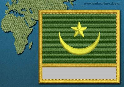 This Flag of Mauritania Customizable Text  with a Gold border design was digitized and embroidered by www.embroidery.design.
