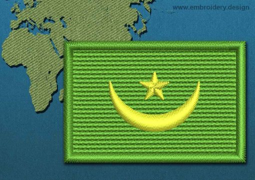 This Flag of Mauritania Mini with a Colour Coded border design was digitized and embroidered by www.embroidery.design.