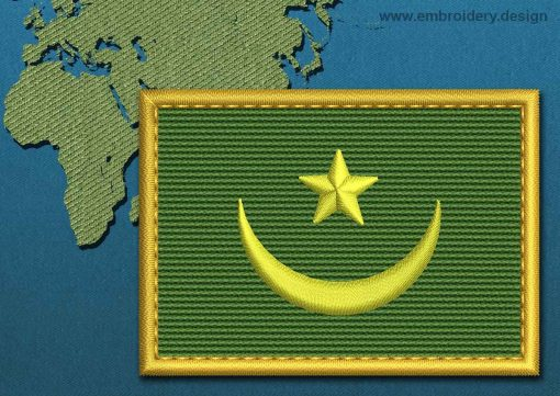 This Flag of Mauritania Rectangle with a Gold border design was digitized and embroidered by www.embroidery.design.