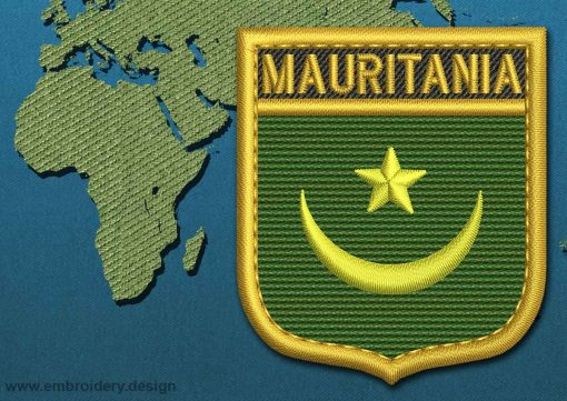 This Flag of Mauritania Shield with a Gold border design was digitized and embroidered by www.embroidery.design.