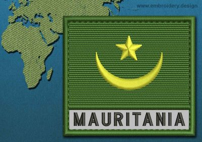 This Flag of Mauritania Text with a Colour Coded border design was digitized and embroidered by www.embroidery.design.