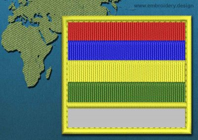 This Flag of Mauritius Customizable Text  with a Colour Coded border design was digitized and embroidered by www.embroidery.design.