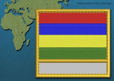 This Flag of Mauritius Customizable Text  with a Gold border design was digitized and embroidered by www.embroidery.design.