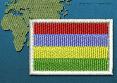 This Flag of Mauritius Mini with a Colour Coded border design was digitized and embroidered by www.embroidery.design.
