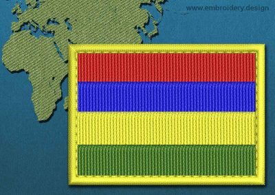 This Flag of Mauritius Rectangle with a Colour Coded border design was digitized and embroidered by www.embroidery.design.
