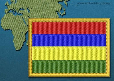 This Flag of Mauritius Rectangle with a Gold border design was digitized and embroidered by www.embroidery.design.