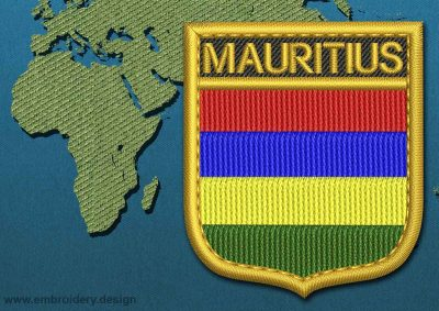 This Flag of Mauritius Shield with a Gold border design was digitized and embroidered by www.embroidery.design.