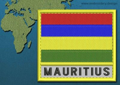 This Flag of Mauritius Text with a Colour Coded border design was digitized and embroidered by www.embroidery.design.