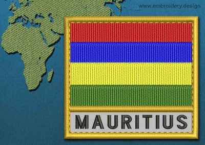 This Flag of Mauritius Text with a Gold border design was digitized and embroidered by www.embroidery.design.