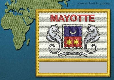 This Flag of Mayotte Customizable Text  with a Gold border design was digitized and embroidered by www.embroidery.design.