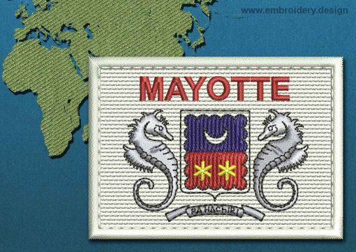 This Flag of Mayotte Rectangle with a Colour Coded border design was digitized and embroidered by www.embroidery.design.