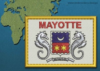 This Flag of Mayotte Rectangle with a Gold border design was digitized and embroidered by www.embroidery.design.